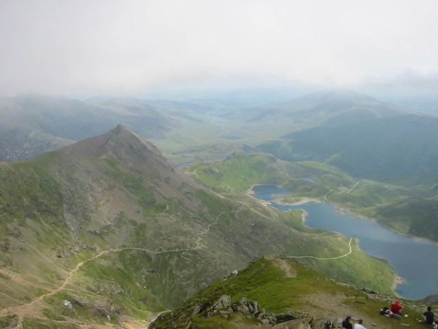 View to the East from the summit of Snowdon towards Llyn Llydaw