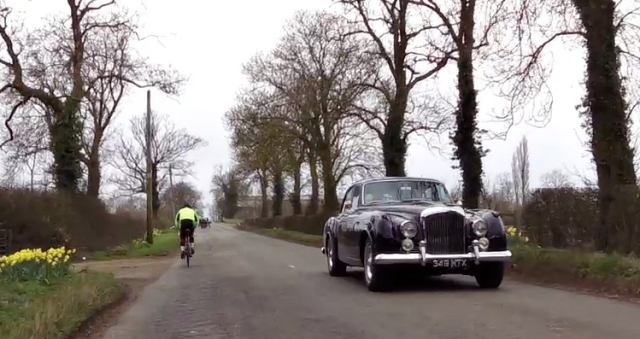 Bentley Continental Flying Spur -leaving the village of Silverstone